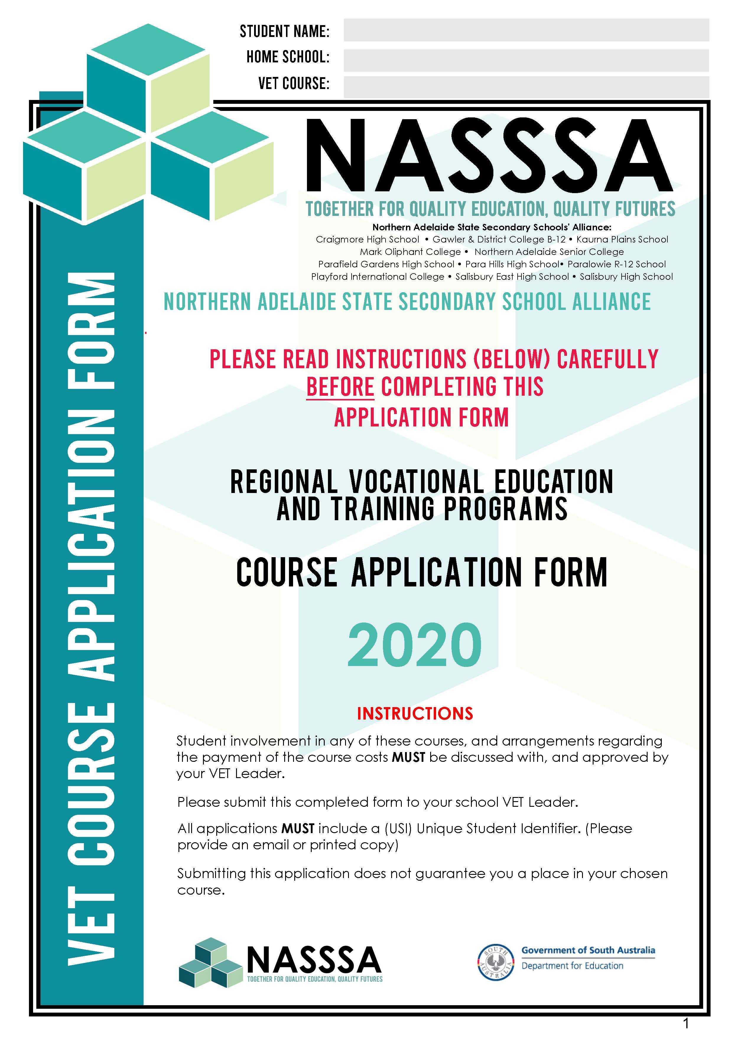 NASSSA 2020 VET Enrolment Form